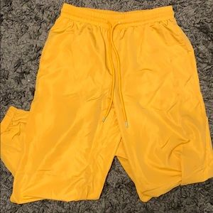 silky yellow joggers w pockets